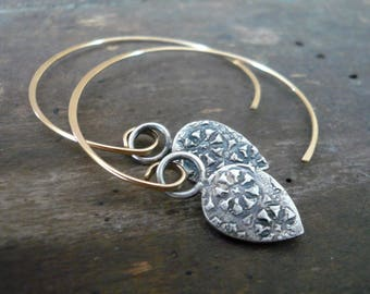 NEW Soleil Collection Ray Earrings - Oxidized fine silver. 14kt Goldfill. Mixed Metal. Handmade