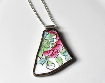 Broken China Jewelry Pendant - Pink Green and Blue Flower