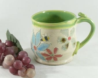 Pottery Teacup, Spring Green Tea Mug with Flowers and Bumblebees, Gift for Her, Espresso Cup, Handmade Coffee Cup, Save the Bees 834