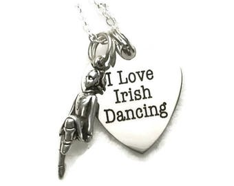 "I Love Irish Dancing Necklace with Dancer on 18"" Sterling Silver Cable Chain Gift Boxed"