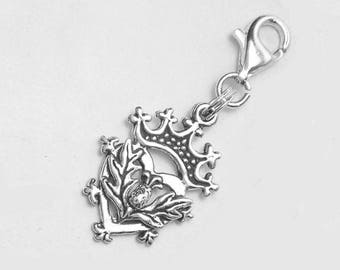 Scottish Luckenbooth Thistle Heart Clip-On Charm Sterling Silver Valentine's Day Scotland