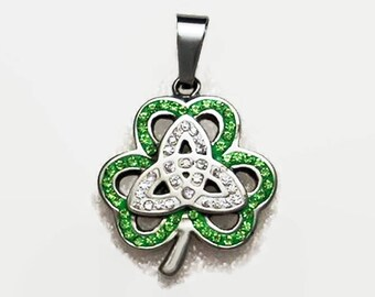 Shamrock with Trinity Knot Sparkling Green and Clear CZ Pendant Stainless Steel St. Patrick's Day