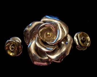 Vintage Sterling Silver Rose Brooch and Clip On Earring Demi Parure Set