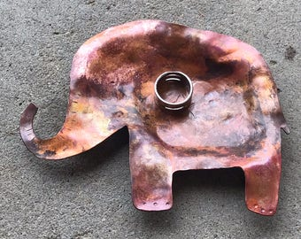 Copper Elephant Trinket Dish, Incense Holder, Ring Dish, Candle Holder