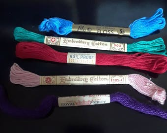 Vintage Embroidery Floss Skeins with Original Labeling