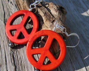 Stone Peace Sign Earrings