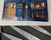 NOS 70s Flatware Set Service for 8 Vintage Rose Dawn Sealed Imperial Stainless Tableware Serving Pieces