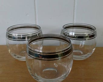 LOVE SALE 3 vintage mid century roly poly cocktail glasses