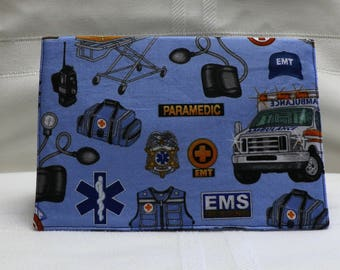 Checkbook Cover Cotton Fabric Top Stub Paramedic EMS Ambulance Medical Design