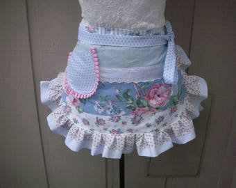 Womens Aprons - Pink Rose Aprons - Shabby Chic Pink Aprons - Blue Flowered Aprons - Hostess Gifts - Annies Attic Aprons - Bridal Shower Gift