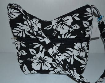 Quilted Fabric Handbag Hobo Slouch Purse Black with White Hibiscus Flowers