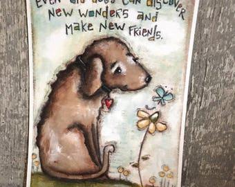 Print of my Original Motivational Inspirational Mixed Media Painting - Old Dog