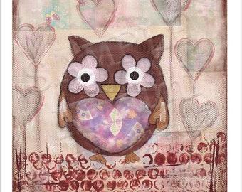 Lovely Owl - Mini Art Print(9cm x 9cm)