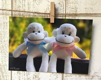 Sock Monkey Angels Postcard - Set of 5 cards, Sock Monkey Photo, Sock Monkey Cards
