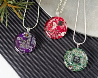 Circuit Board Necklaces, Set of 3 for Stocking Stuffers, Engineer Gift, Wearable Technology, Tech Gift for Her, Gift Set, Computer Science