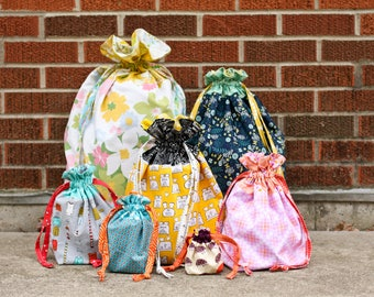 Lined Drawstring Bag PDF Sewing Pattern