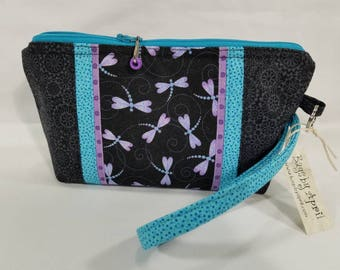 Dragonfly Clutch with zipper Dragonflies wristlet bag small zippered cosmetic pouch purse
