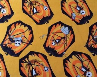 Nightmare Before Christmas Jack Skellington Pumpkin Orange Cotton Fabric by Springs Creative 1/2 yard