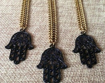 SUMMER SALE Black Hamsa Necklace on Antique Gold Chain