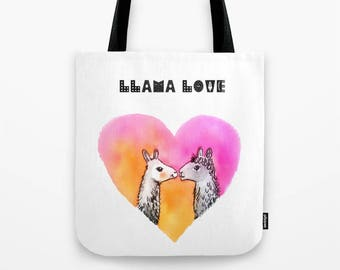 Llama love bag Heart tote bag funny bag gift for girlfriend gift for wife birthday gift valentine's day gift funny tote bag cute bag