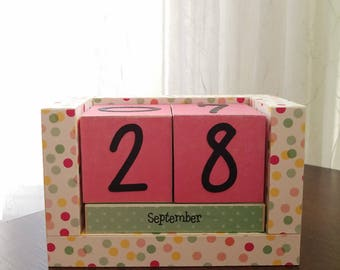 Perpetual Wooden Block Calendar - Tutti Frutti Confetti Party Polka Dots - Calendar Blocks - Aqua Pink and Yellow Dots - Ready to Ship