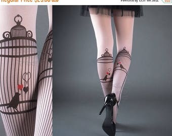 ON SALE/// Tattoo Tights - Bird Cage Light Pink one size full length printed closed toe tights pantyhose, tattoo socks, bird, heart, love, r