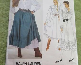 Vintae 80s Vogue American Designer Ralph Lauren 2881 Misses Blouse or Drress and Skirt Sewing Pattern sz 8 B31.5