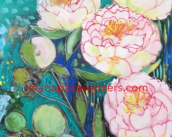 Pale Pink Peony Garden - mixed media encaustic painting by Maria Pace-Wynters