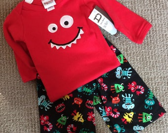 SALE Ready to Ship Little Monster Appliqued Tee and pant set size 12/18m