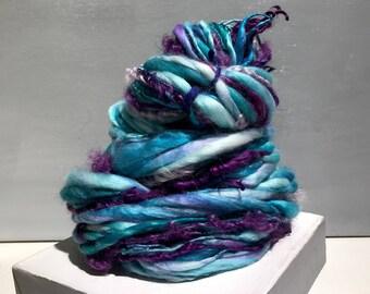 "Thick Thin Art Yarn, bulky handspun yarn ""Laugh with Me"" Ice blue white purple grape lavender yarn, Crochet Knitting weaving yarn bulky yarn"