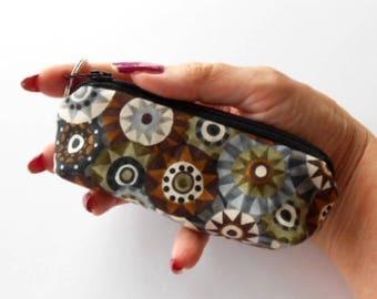 Mini Key Chain Zipper Pouch ECO Friendly Padded Lip Balm Case Pinwheels