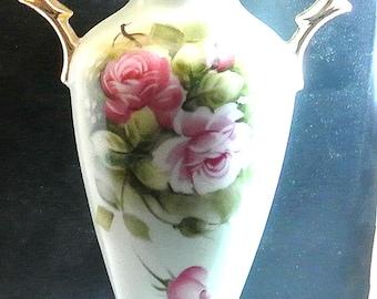 Lefton China Heritage Green Pink Flowers Vase Vintage Handpainted Light Green Vase Gilded Handles Signed 4072 On Bottom
