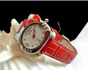 July 4th Sale Hello Kitty Watch With Red Leather Band Working Silver Tone Rhinestone Enamel Hello Kitty Wrist Watch Japan Quartz Movement Sa