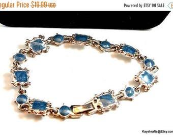 Eclipse Sale Blue and Silver Tone Vintage Bracelet Blue Link Bracelet