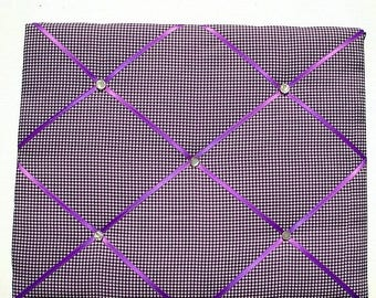 Eclipse Sale Purple Gingham Memory Board French Memo Board, Fabric Ribbon Bulletin Board, Ribbon Pin Board, Ribbon Photo Board, Bedroom Deco