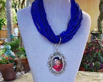 Frida Kahlo Bright Blue Seed Bead Necklace