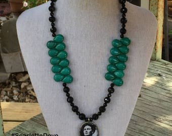 Frida Kahlo Black Onyx and Green Magnesite Necklace