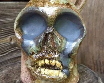 cellar zombie FACE JUG by Joel Patton, ash glaze