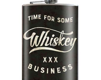 Whiskey Business - Vintage Funny Hilarious Novelty 8oz Stainless Steel Flask - comes in a GIFT BOX -  by Trixie & Milo