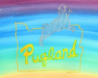 Pug Dog Lover Art Gift, Portland OR, Pug Gift For Her, Funny Animal Art Print, College Dorm Decorations, Pug Decor Gift, Wall Decor Under 20