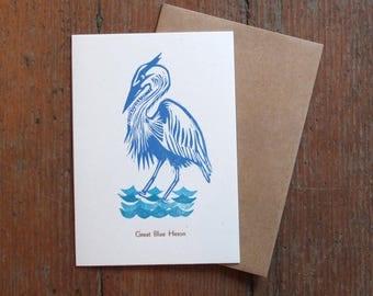 linocut blank card Great Blue Heron