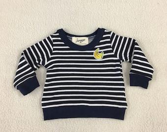 Striped banana sweatshirt kids toddler Supayana READY TO SHIP
