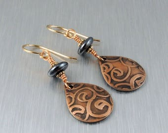 Etched Copper Earrings - Copper and Black Earrings - Copper Teardrop Earrings