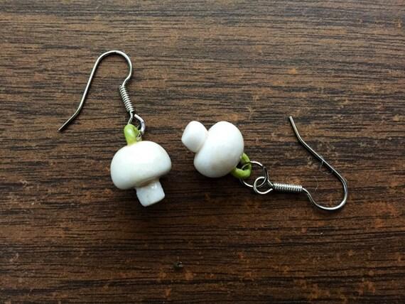 porcelain button mushroom earrings in white