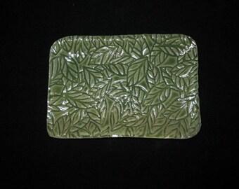 leaf patterned dish, soap, butter, jewelry, stoneware pottery, dishwasher safe