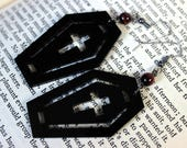 Black Acrylic Coffin Earrings with Red Tiger Eye Beads - Halloween Goth Witch Vampire