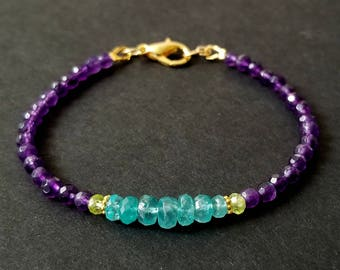 Purple Jade Bracelet, Apatite Bracelet, Beaded Gemstone Stacking Bracelet, Gold Vermeil