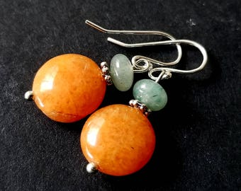 Aventurine Earrings, Orange Coin Earrings, Tangerine Quartzite Dangles, Sterling Silver