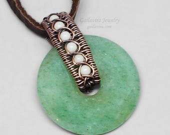 SALE - Copper, White Quartz and Green Aventurine Donut Necklace Pendant