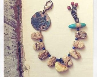 Autumn is Ending Beaded Bracelet with Bird Charm